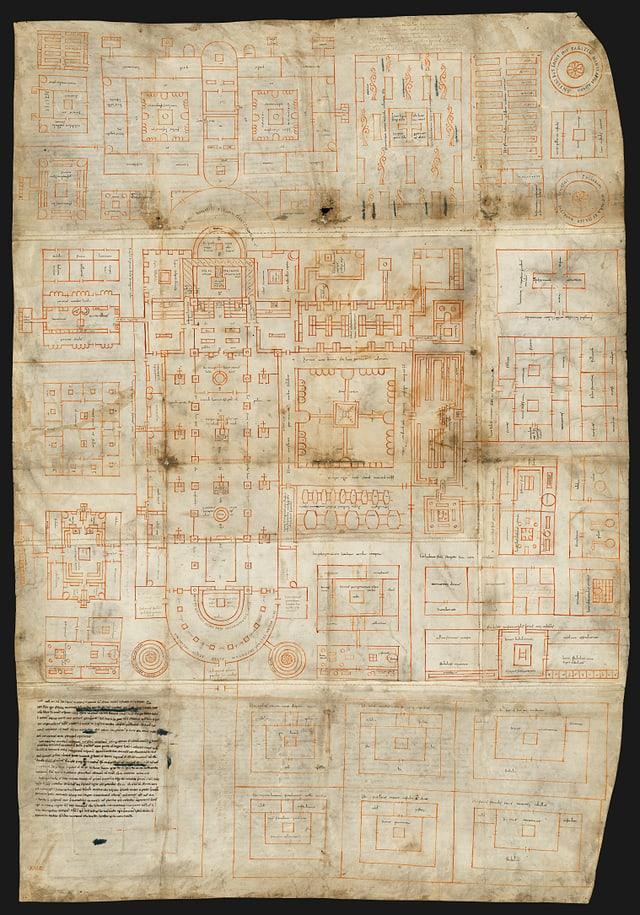 Eine detaillierte Zeichnung der Grundrisse des Klosters auf einem Stück Pergament.