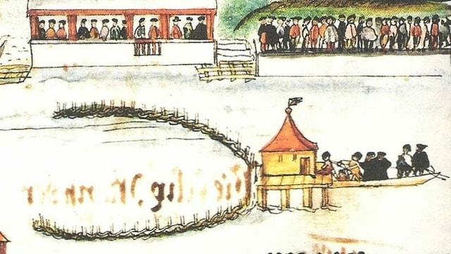 Ein altes Bild mit Schaulustigen an einem Flussufer