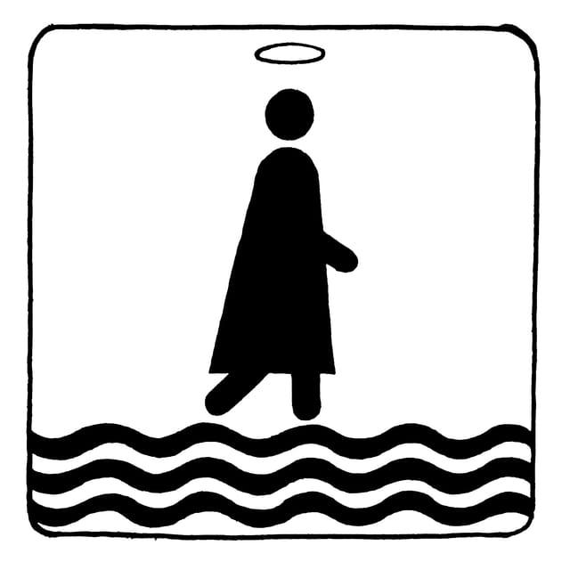 Piktogramm, auf dem Figur mit Heiligenschein über gewellte Linien (Wasser) geht.