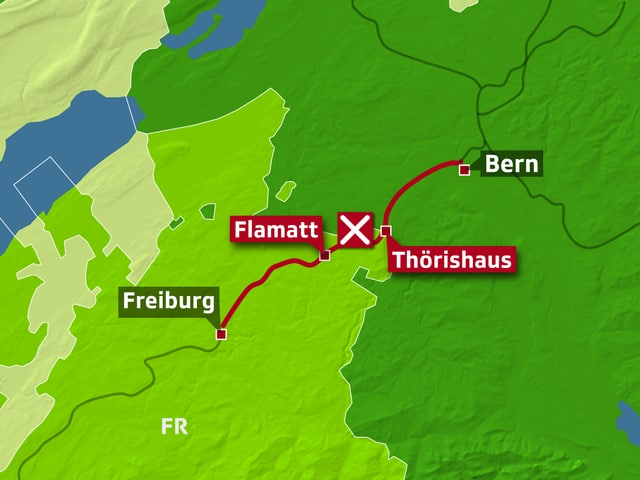 Karte mit dem SBB-Unterbruch zwischen Flamatt und Thörishaus