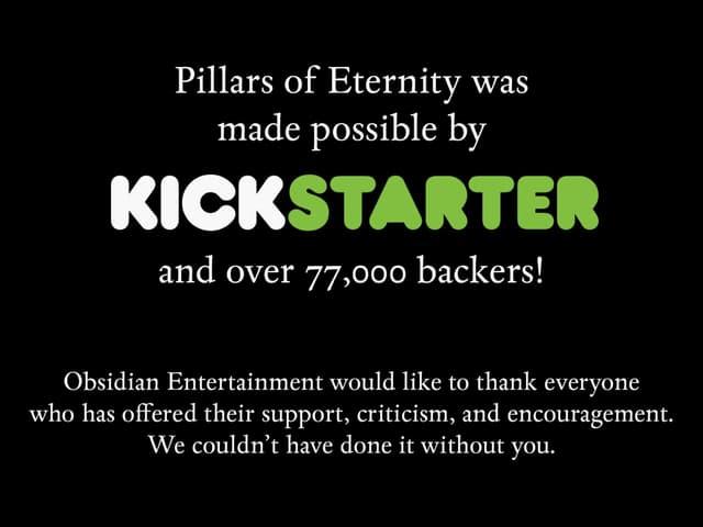 Obsidian Entertainment sagt Danke für die Kickstarter-Unterstützung.