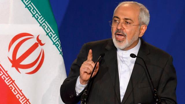 Il minister da l'exteriur da l'Iran, Mohammad Javad Zarif, al discur d'atom a Losanna.