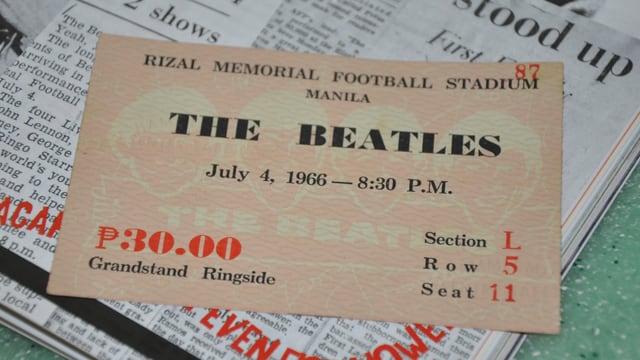 Eintrittskarte für das Abendkonzert der Beatles in Manila am 4. Juli 1966.