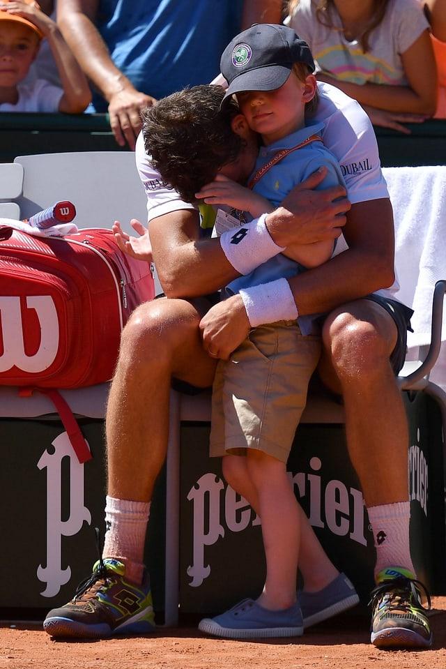 Mathieu mit seinem Sohn Gabriel