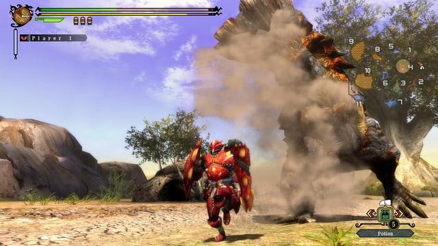 Ein Jäger in roter Rüstung flüchtet vor einem aufgebrachten Schlammvieh.