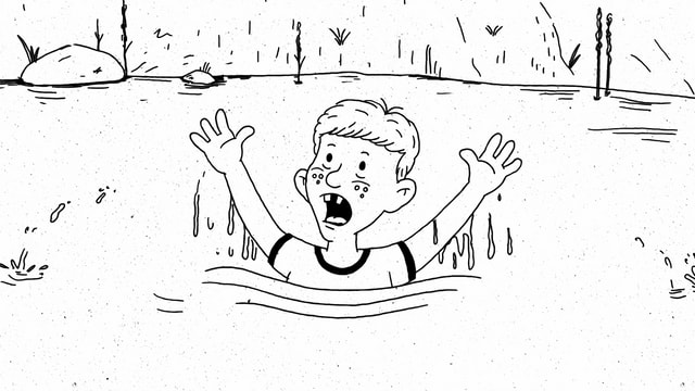 Kind im Teich