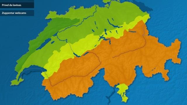 La carta Svizra cun las zonas da lavinas. Per l'inter Grischun ed il Vallais vala uss stgalim 3.