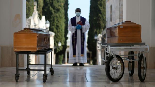 Beerdigungszeremonie für Covid19-Opfer.