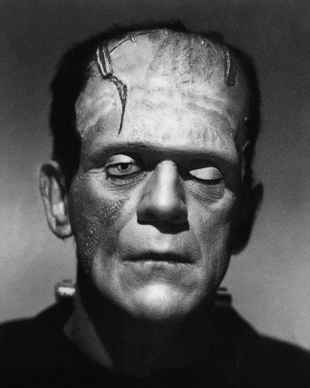 Das Portrait von Schauspieler Boris Karloff zeigt ihn in seiner Frankenstein-Maske
