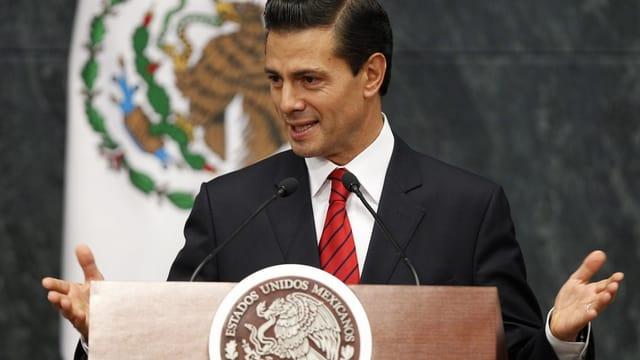 Präsident Enrique Peña Nieto am Rednerpult.