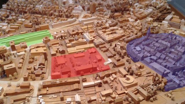 Modell einer Stadt.