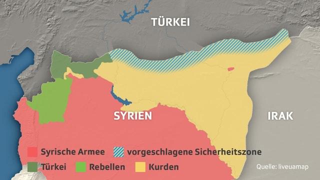 Karte von Nordsyrien mit Einzeichnung der kontrollierten Gebiete.