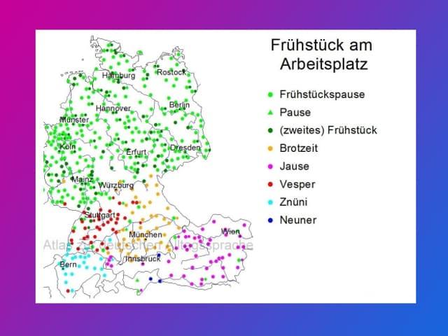 Grafik mit einer Karte, auf der viele verschieden farbige Punkte sind.