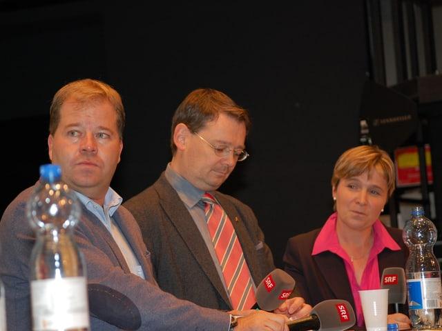 Die Kandidaten Pierre-Alain Grichting (FDP) und Franz Ruppen (SVP) mit Wallis-Korrespondentin Silvia Graber.