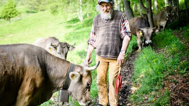 Capruz mit seinen behornten Kühen.