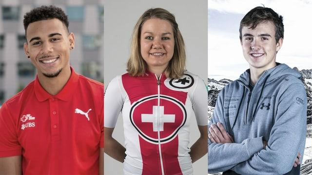 Von links nach rechts: Leichtathlet Jason Joseph, Mountainbikerin Sina Frei und Skiakrobat Noé Roth.