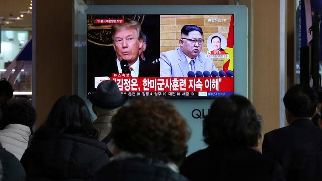 Las novitads da Trump e Kim vegnan persequitadas da persunas a Seoul.