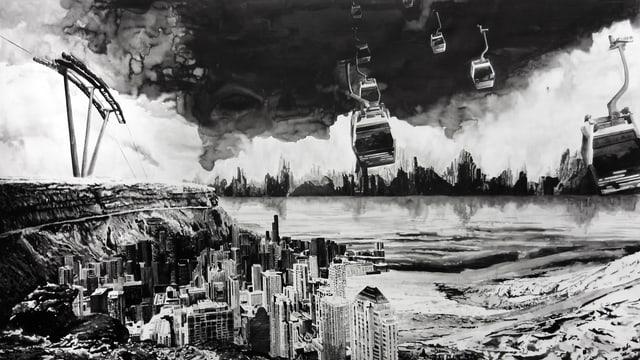 Schwarzweiss-Zeichnung: Eine moderne Stadt steht in einer Bucht an einem Ufer. Über der Stadt befindet sich eine Gondelbahn.
