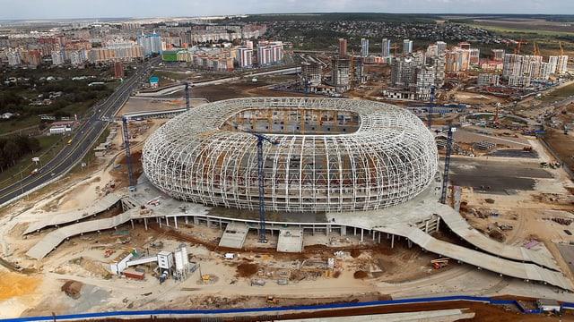 Luftbild der Mordwinien-Arena in Saransk.