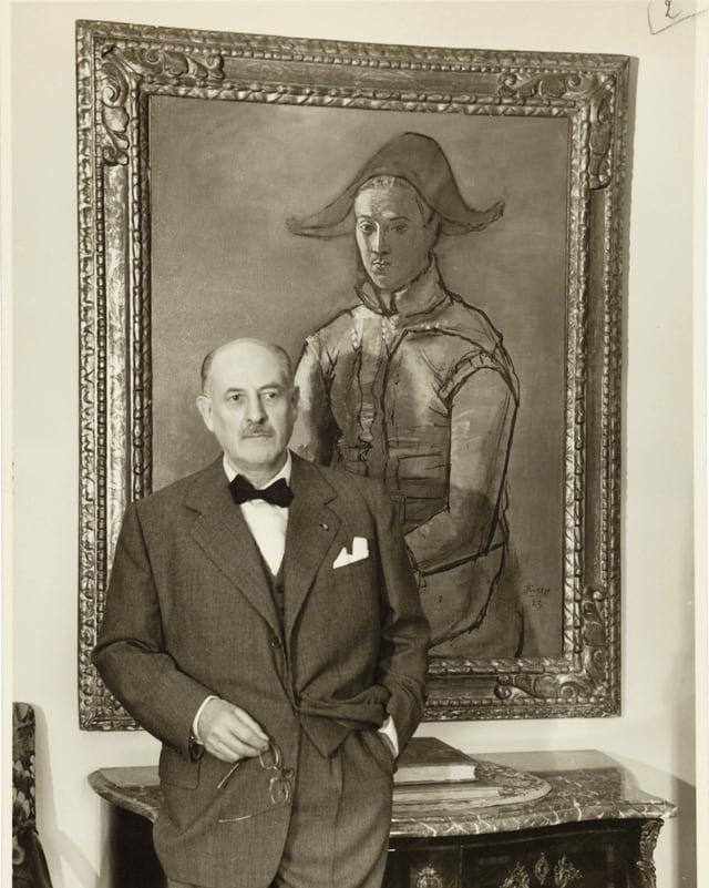 Karl Im Obersteg vor Pablo Picassos Arlequin.