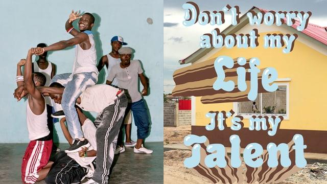 Geteiltes Bild: Rechts ein Haus, darauf ein Schriftzug. Links mehrere junge Männer in Pose.
