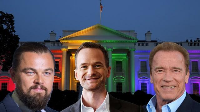 Porträt von Leonardo DiCaprio, Neil Patrick Harris und Arnold Schwarzenegger. Im Hintergrund Weisses Haus in Regenbogenfarben.