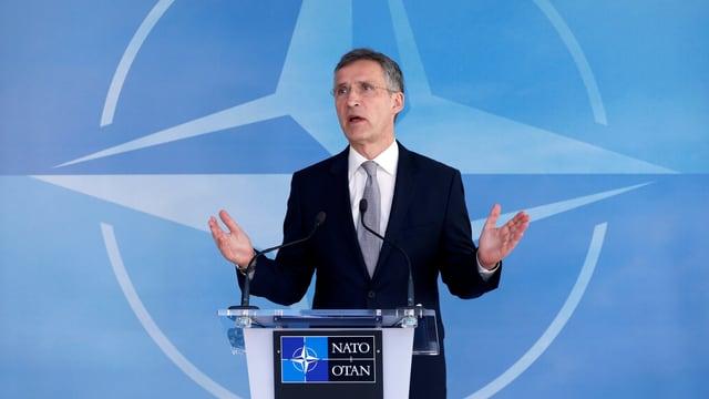 Nato-Generalsekretär Jens Stoltenberg nach dem Treffen in Brüssel.