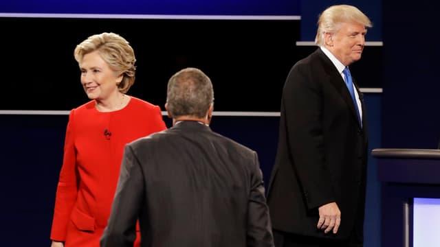 Clinton und Trump im TV-Duell.