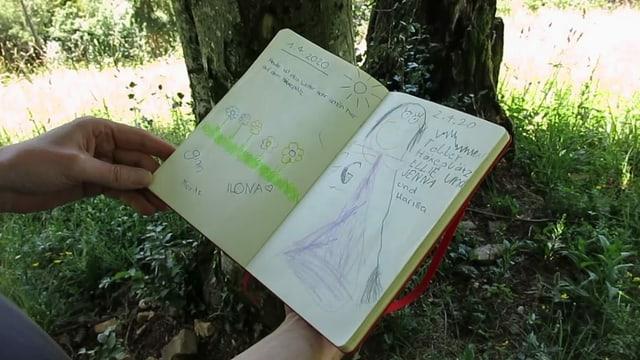 Im «Gipfelbuch» tragen sich junge und alte Besucherinnen ein
