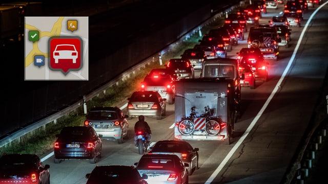 Auf der Autobahn stauen sich Autos. Es ist Nacht. Die roten Bremslichter kontrastieren zum Schwarz der Nacht.