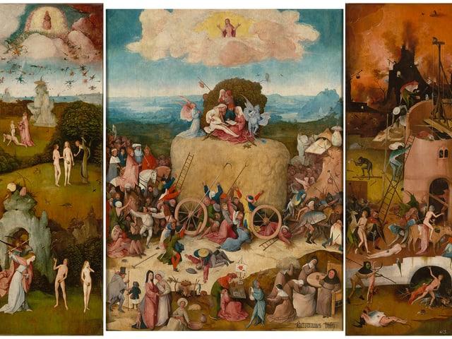 Triptychon von Hieronymus Bosch: Der Heuwagen.