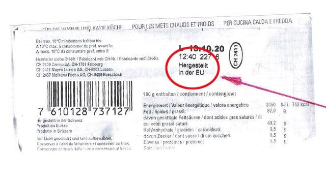 Herkunftsangabe EU auf Kochbutter-Verpackung