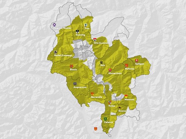 Karte der Anwohnergemeinden des Parks