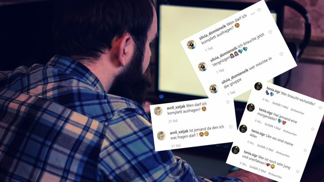 Mann sitzt vor einem Laptop, Collage mit Kommentaren zu Instagram-Posts.