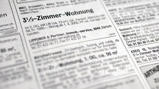 Wohnungsinserate in einer Zeitung