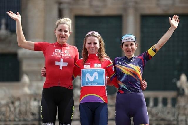Marlen Reusser, Annemiek van Vleuten und Elise Chabbey (v.l.n.r.)
