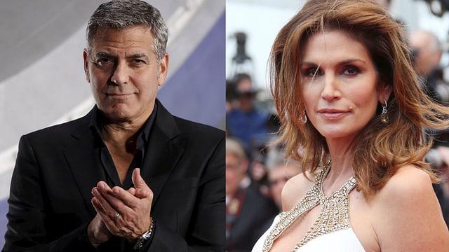 George Clooney klatscht, Cindy Crawford posiert.