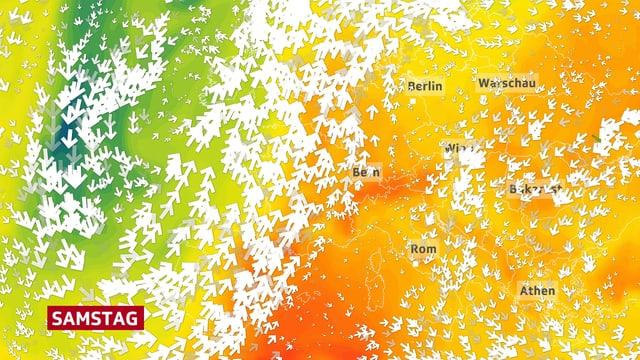 Bildausschnitt von Europa mit Windpfeilen und Farben für die unterschiedlich warmen Luftmassen. Die südwestliche Strömung bringt sehr warme Luft in den Alpenraum, auf dem Bild orange eingefärbt.