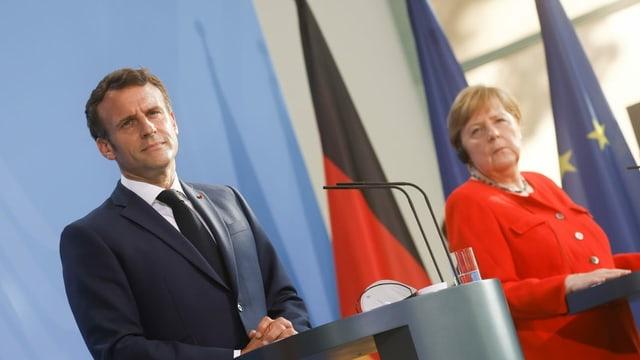 Emmanuel Macron und Angela Merkel an der Pressekonferenz