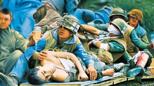 Acryl-Gemälde von Franz Gertsch, zeigt Szene aus dem Vietnamkrieg.