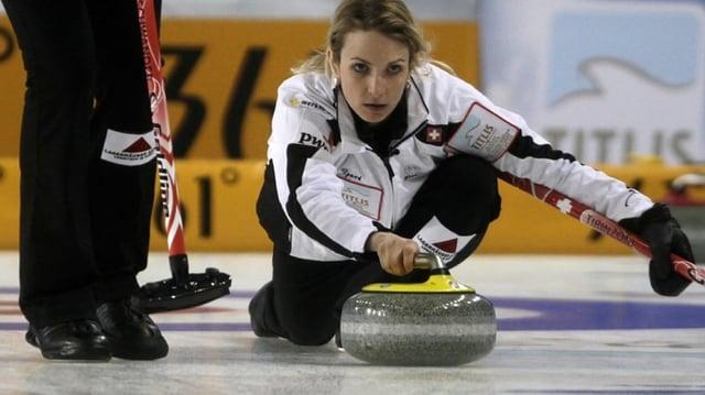 Skip Silvana Tirinzoni vom CC Aarau im Einsatz an der WM in Riga.