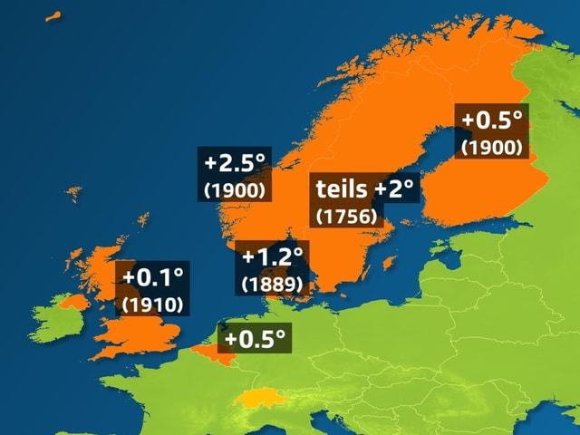 Europakarte mit eingefärbten Ländern. In Norwegen +2.5°, Messreihe beginnt 1900.