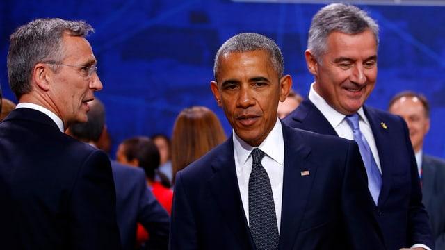 Nato-Generalsekretär Jens Stoltenberg (linke Seite) und US-Präsident Barack Obama.