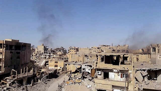 Zerstörte Häuser in Dair as-Saur in Syrien am 3. November 2017.