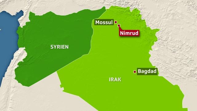 Grafische Karte mit Syrien und Irak