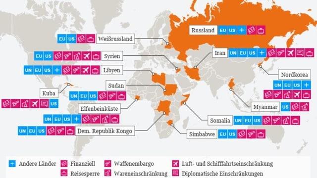 Grafik zeigt Staaten, die Witschaftssanktionen unterworden sind