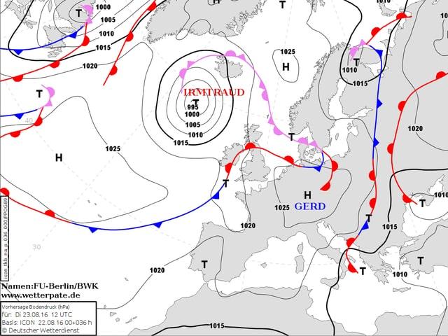 Europa-Wetterkarte mit Tiefs, Hochs und Fronten. Hoch Gerd hat sein Zentrum über Tschechien.