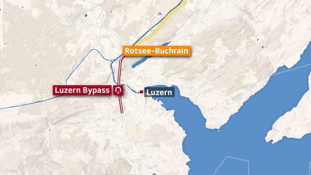 Karte von Luzern mit eingezeichnetem, geplantem Zubringerverlauf