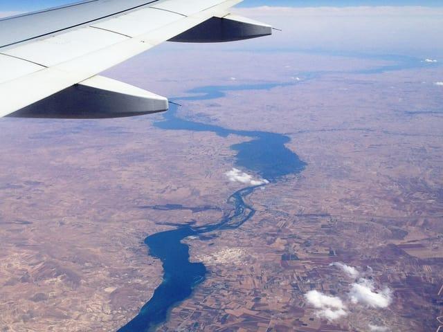 Blick auf den Irak aus dem Flugzeug.