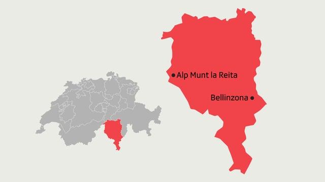 Kartenausschnitt auf dem die Alp Munt la Reita sowie Bellinzona eingezeichnet sind.